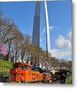 Bnsf Ore Train And St. Louis Gateway Arch Metal Print