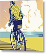 Boadwalk Bike Metal Print