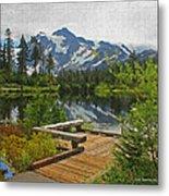 Board Walk- Lake- Fir Trees And Mount Baker Metal Print