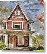 Boarded Up Old Characer Home Watercolor Metal Print