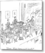 Boardroom With Boss Speaking At Piano Shaped Metal Print