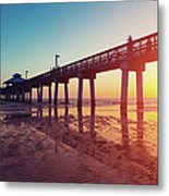 Boardwalk At Sunset While The Sun Metal Print
