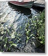 Boat At Dock On Lake Metal Print