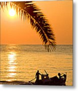 Boat At Sea Sunset Golden Color With Palm Metal Print