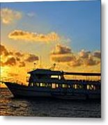 Boat At Sunrise Metal Print