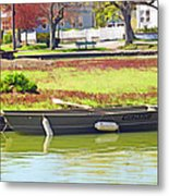 Boat At The Pond Metal Print