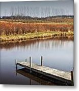Boat Dock On A Pond In South West Michigan Metal Print