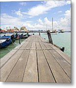 Boat Dock On Jetty In Penang Metal Print