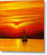 Boat In The Sunset Metal Print