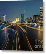 Boat Light Trails On Bangkok Chao Phraya River Metal Print