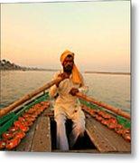 Boat Man On The Ganges River At Varanasi Metal Print
