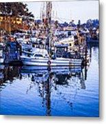 Boat Mast Reflection In Blue Ocean At Dock Morro Bay Marina Fine Art Photography Print Metal Print