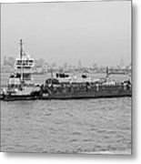 Boat Meet Barge In Black And White Metal Print