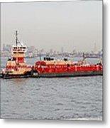 Boat Meet Barge Metal Print