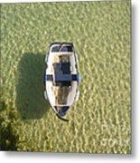 Boat On Ocean Metal Print by Pixel Chimp