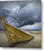 Boat On The Beach With Oncoming Storm Metal Print