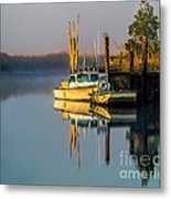 Boat On The Creek Metal Print