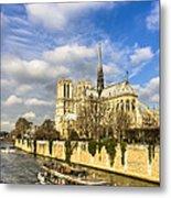 Boat Passing Notre Dame De Paris  Metal Print