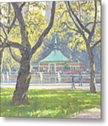 Boat Pond, Central Park Oil On Canvas Metal Print