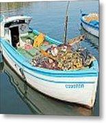 Boat Reflected In Sozopol Harbour Metal Print