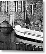 Boat Reflection In Bruges Metal Print