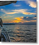 Boat Returning To Port As Dawn Breaks Metal Print