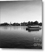 Boat Ride World Showcase Lagoon In Black And White Walt Disney World Metal Print