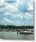 Boat - Sailboat At Dock Cold Springs Ny Metal Print