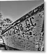 Boat - State Of Decay In Black And White Metal Print