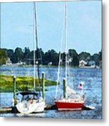 Boat - Two Docked Sailboats Norwalk Ct Metal Print