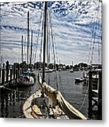 Boat Under The Clouds Metal Print