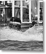 Boat Wake Black And White Metal Print