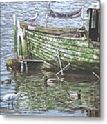 Boat Wreck With Sea Birds Metal Print