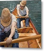 Boaters Rowing On The Yerres Metal Print