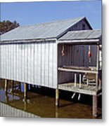 Boathouse At Low Tide Metal Print