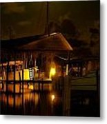 Boathouse Night Glow Metal Print by Michael Thomas