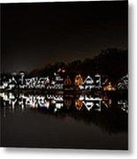 Boathouse Row At Night Metal Print