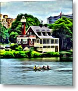 Boathouse Rowers On The Row Metal Print
