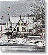 Boathouse Snow Metal Print
