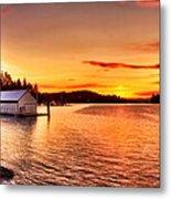 Boathouse Sunset On The Sunshine Coast Metal Print