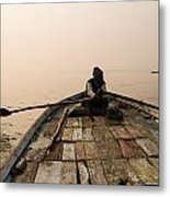 Boating At Sangam Metal Print