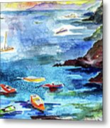 Boating In Italy Watercolor  Metal Print