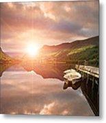Boating Lake Sunrise Metal Print