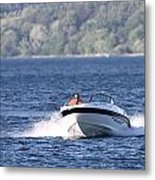 Boating On Grand Traverse Bay Metal Print