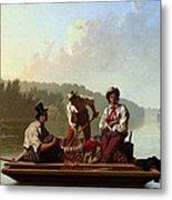 Boatmen On The Missouri Metal Print