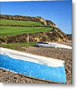 Boats Along Branscombe Beach Metal Print