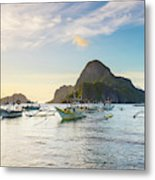 Boats Anchored In Bacuit Bay And Cadlao Metal Print