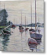 Boats Anchored On The Seine Metal Print by Gustave Caillebotte