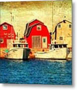 Boats And Boat Houses Pei Photograph  Metal Print by Laura Carter
