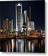 Boats And City Lights Metal Print